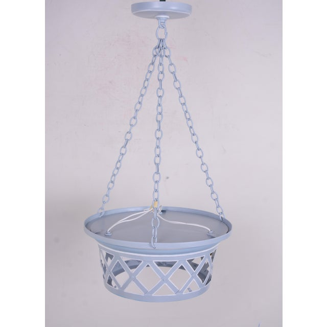"""Vintage Tole criss cross design Chandelier, 3 socket for light bulb and an opaque glass on the bottom. 12.5"""" diameter with..."""