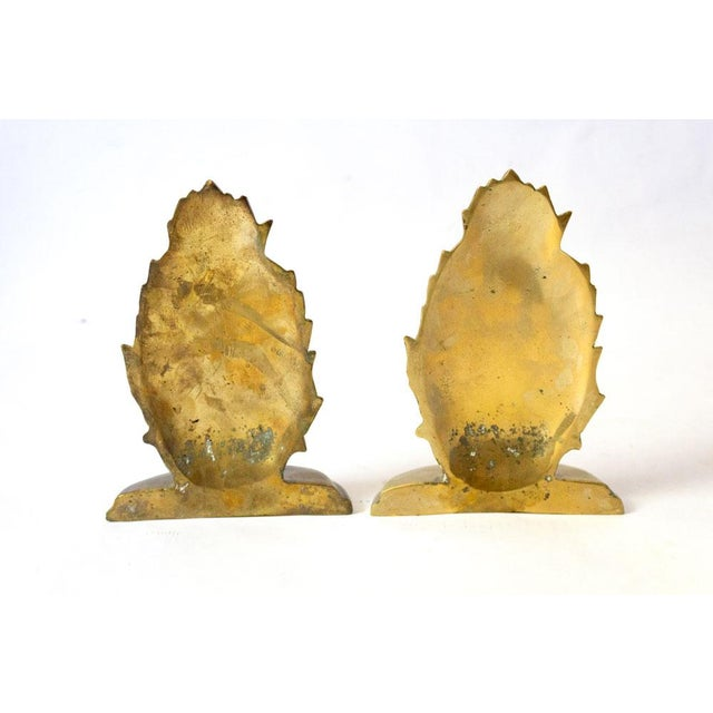1970s Vintage Brass Pineapple Bookends - A Pair For Sale - Image 4 of 7
