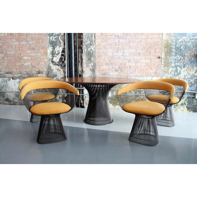 Metal Original Walnut and Bronze Dining Set With 4 Chairs by Warren Platner for Knoll For Sale - Image 7 of 13