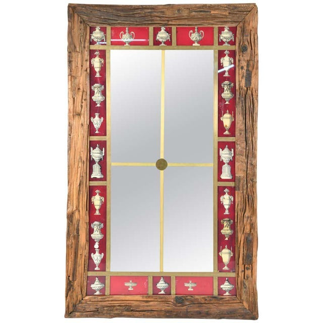 Rustic Italian wall mirror. Large wall mirror. Timber frame with reverse painted and mirrored glass. Brass trim.