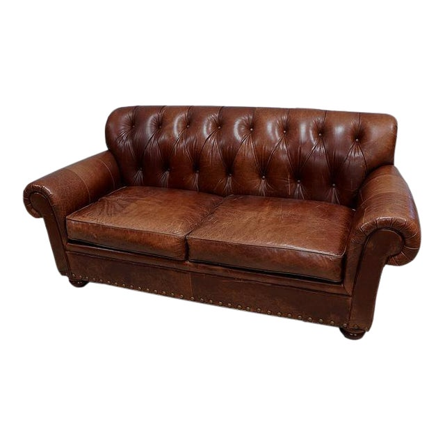 Marvelous Woodmark Leather Tufted Sofa Pabps2019 Chair Design Images Pabps2019Com