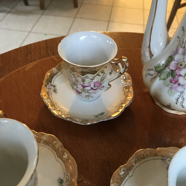 Stunning, 1960s Hand Painted Prussia Floral Chocolate Set, Reduced For Sale - Image 4 of 13