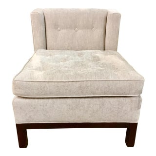 Hickory Chair Co. Modern Gray Chennile Slipper Chair For Sale