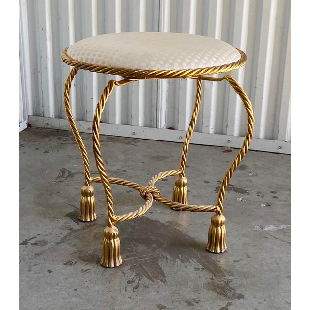 Twisted Brass Tassel Vanity Stool For Sale In Miami - Image 6 of 6