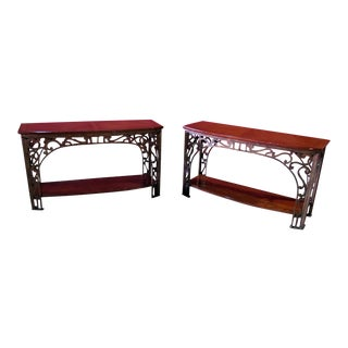 Regency Style Inlaid Console Tables - a Pair For Sale