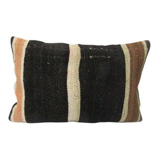 Vintage Black & Brown Kilim Pillow For Sale
