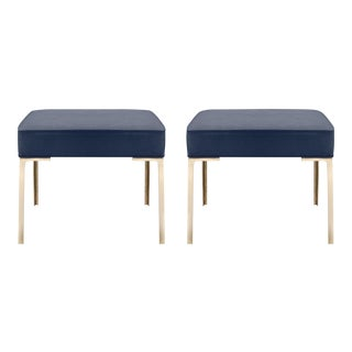 Astor Brass Ottomans in Midnight Ultrasuede by Montage, Pair For Sale