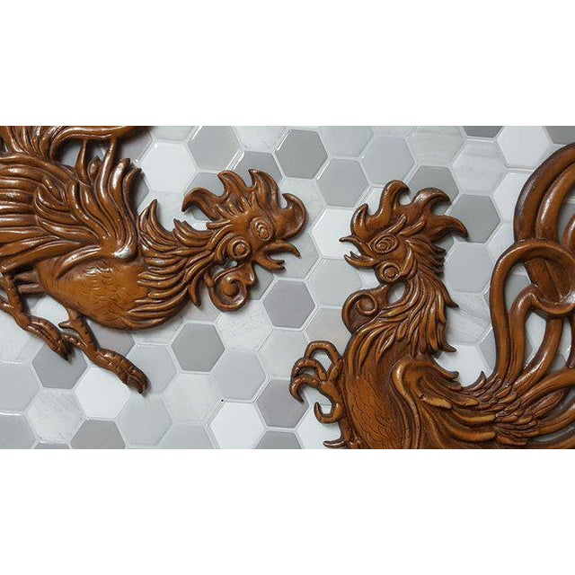 Country 1960s Vintage Fighting Roosters Wall Decor- A Pair For Sale - Image 3 of 11
