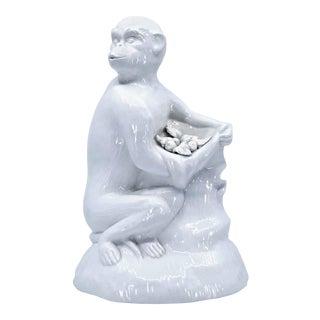 Vintage 1960s White Porcelain Ceramic Monkey Sculpture Figurine on Faux Bois Tree Stump Signed Italy For Sale