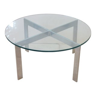 Mid-Century Modern Glass Top Brushed Aluminum Coffee Table For Sale
