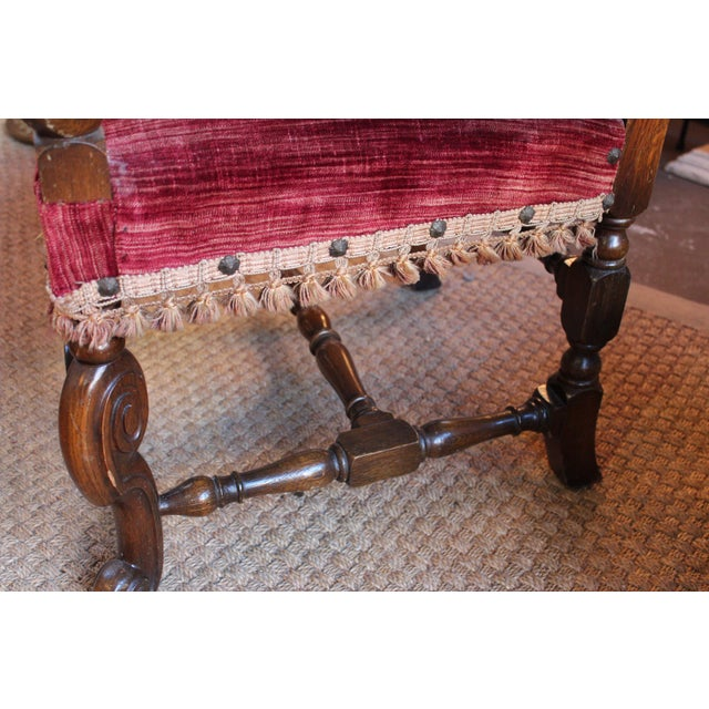 Louis XIV Style Carved Oak Arm Chairs - A Pair For Sale - Image 9 of 9