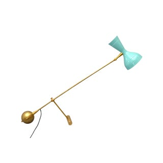 Stilnovo Attributed Diabolo Table Lamp Brass and Metal With Turquoise Shade