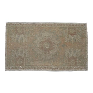 Distressed Low Pile Turkish Yastik Petite Rug Low Pile Faded Mat - 19'' X 31'' For Sale