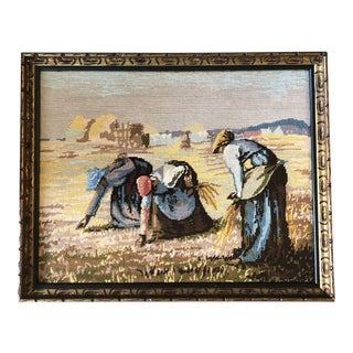 "Vintage Original Needlepoint Picture Framed ""The Gleaners"" by Francois Millet For Sale"