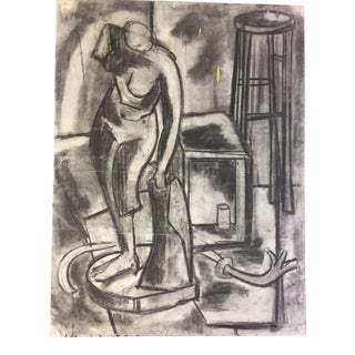 1950s Charcoal Female Nude Drawing Bay Area Artist For Sale
