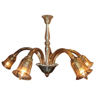 Mid-Century Venetian Handblown Murano Single Tier Chandelier With Five Arms