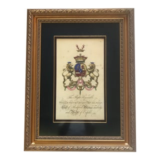 Late 20th Century Vintage Coat of Arms Copper Print For Sale