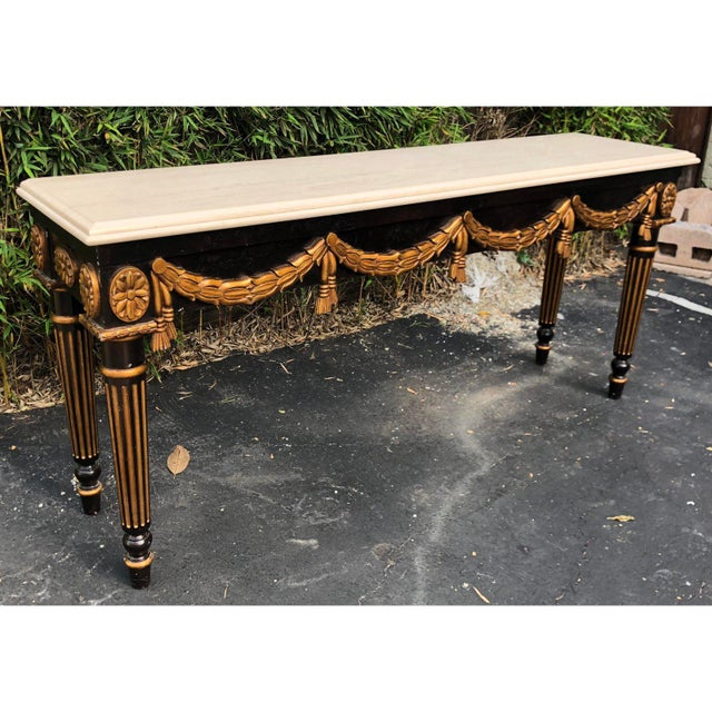 William Switzer Black & Gold Louis XVI Style Console Table by Charles Pollock for William Switzer For Sale - Image 4 of 5