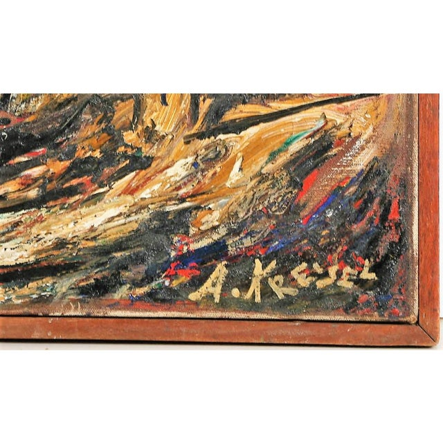 VIntage mid 20th c oil on canvas by important abstract expressionist artist, Alexander Kreisel. canvas size 30 x 40 signed...