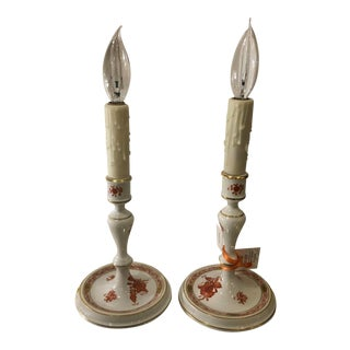 Pair of Herend Hungarian Porcelain Orange Candlesticks Now Designer Lamps For Sale