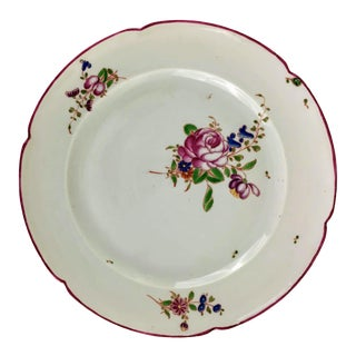 Late 18th Century Antique Niderviller Plate With Rose Bouquet For Sale