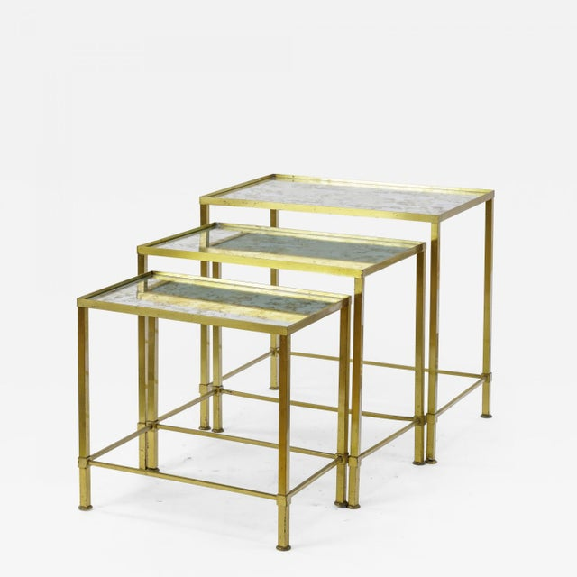 Gold Marc Du Plantier Refined Gold Bronze 3 Nesting Tables For Sale - Image 8 of 8