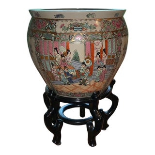 1960s Vintage Ceramic Porcelain Famille Verte Jardiniere Planter For Sale
