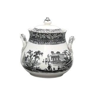 Antique Black & White Transferware Sugar Bowl For Sale
