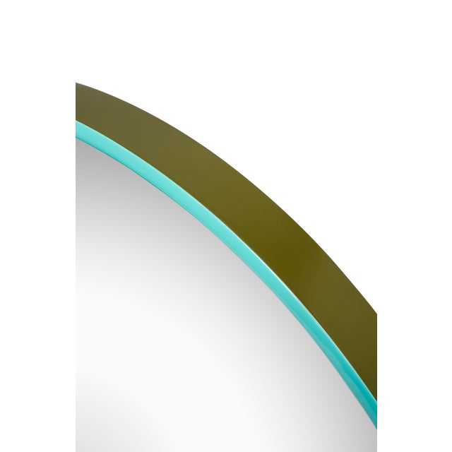 Large Round Mirror in Olive Green / Tiffany Blue - Pentreath & Hall for The Lacquer Company For Sale - Image 4 of 5