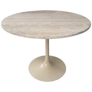 Maurice Burke Travertine and Cream Tulip Base Dining or Centre Table For Sale