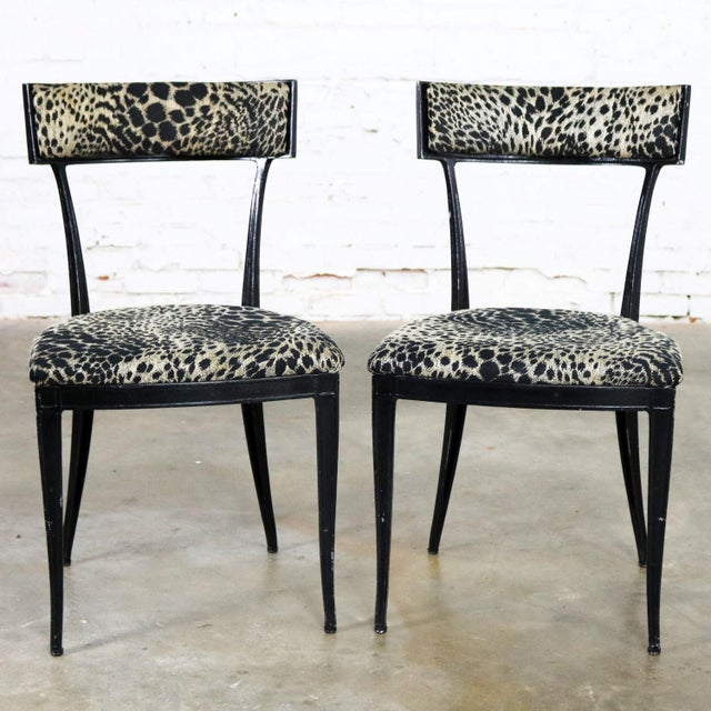 Pair Black Art Deco and Animal Print Side Chairs Cast Aluminum by Crucible Products For Sale - Image 13 of 13