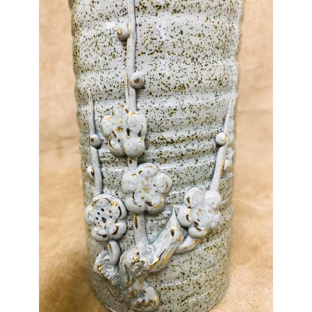 Gray Vintage Speckled Crackled Glaze Hand Crafted Pottery Vase For Sale - Image 8 of 9