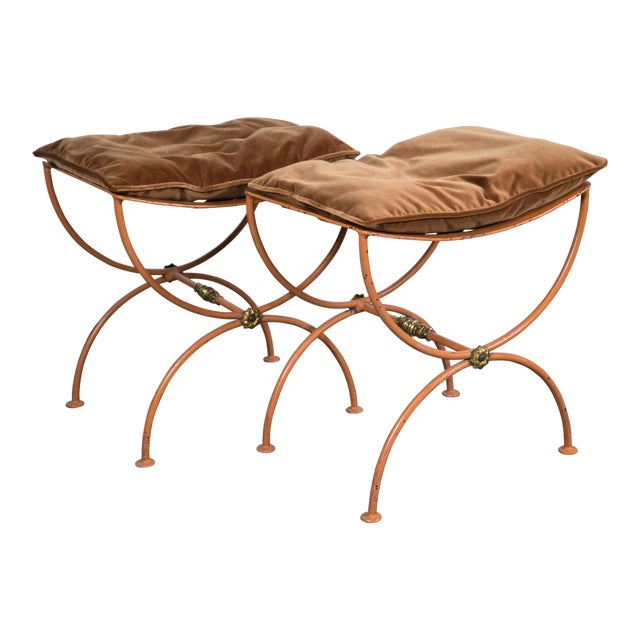 Jean Charles Moreux Burnt Orange Tole Benches - a Pair For Sale
