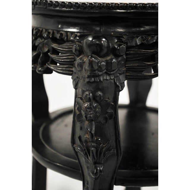 19th C. Chinese Carved Marble Inlay Round Side Table For Sale - Image 9 of 13
