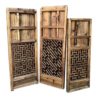 Antique Asian Wood Window Covers - Set of 3 For Sale