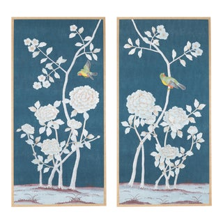 """""""Brympton"""" Chinoiserie Hand-Painted Silk Diptych From Jardins en Fleur by Simon Paul Scott - Set of 2 For Sale"""