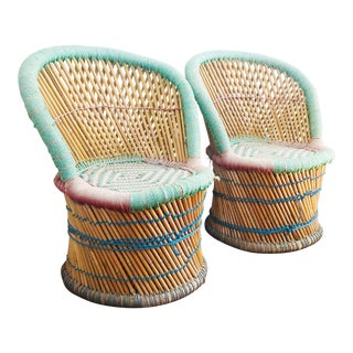 Vintage Colorful Woven Bamboo Kids Chairs - Set of 2 For Sale