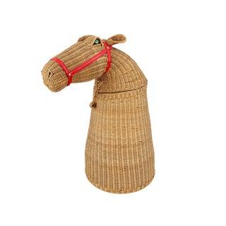 1970s Vintage 2-Piece Wicker Horse Hamper For Sale