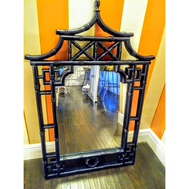 Glass Palm Beach Regency Chinoiserie Navy Blue Pagoda Faux Bamboo Fret Work Wall Mirror For Sale - Image 7 of 8