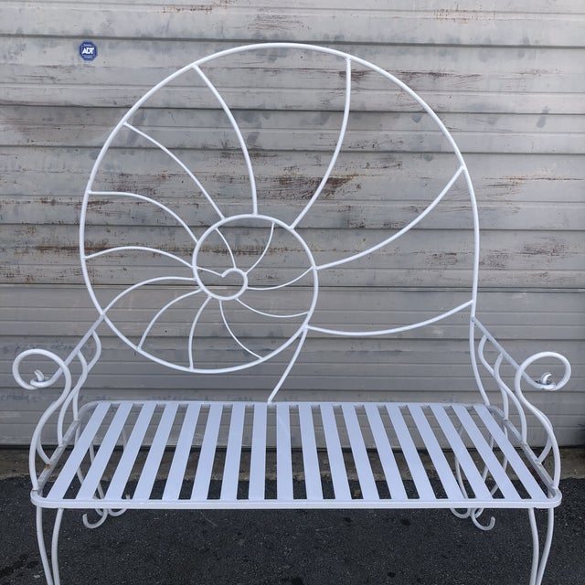 Metal Nautical Shell Wrought Iron Art Nouveau Garden Bench For Sale - Image 7 of 10