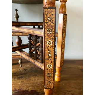 Antique Syrian Inlaid Folding Brass Tray Table Preview