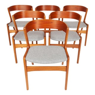 Vintage Danish Mid-Century Teak and Oak Ribbon Back Dining Chairs (Set of 6) For Sale