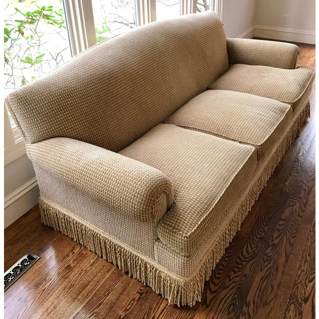2010s Brunschwig & Fils Oxford Gold Chenille Fabric Sofa & Loveseat - A Pair For Sale - Image 5 of 13