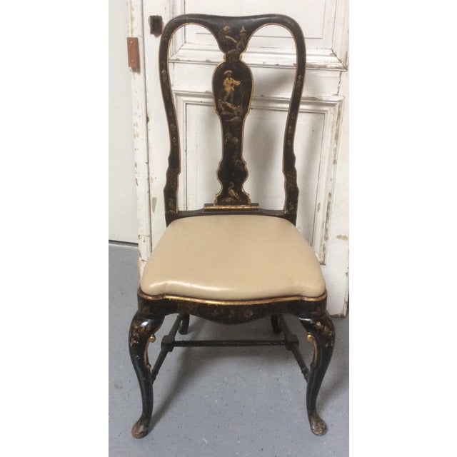 Antique Chinoiserie Desk Chair With Leather Seat For Sale - Image 10 of 10