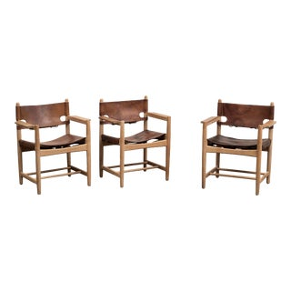 Set of Three Hunting Armchairs Chairs by Borge Mogensen for Fredericia, Denmark For Sale