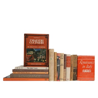 Midcentury Italian Appreciation Book Set: Orange & Tan, S/15 For Sale
