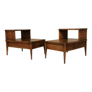 Broyhill Saga Mid-Century Modern Step-Up Side Tables - A Pair