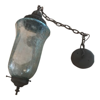 Mid-Century Hanging Blue Glass Pendant Lantern Lighting Fixture For Sale