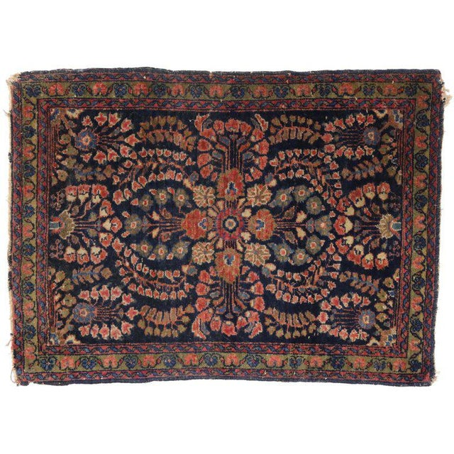 Antique Persian Sarouk Accent rug, small Persian rug. This lush floral Persian Sarouk accent rug features a central...
