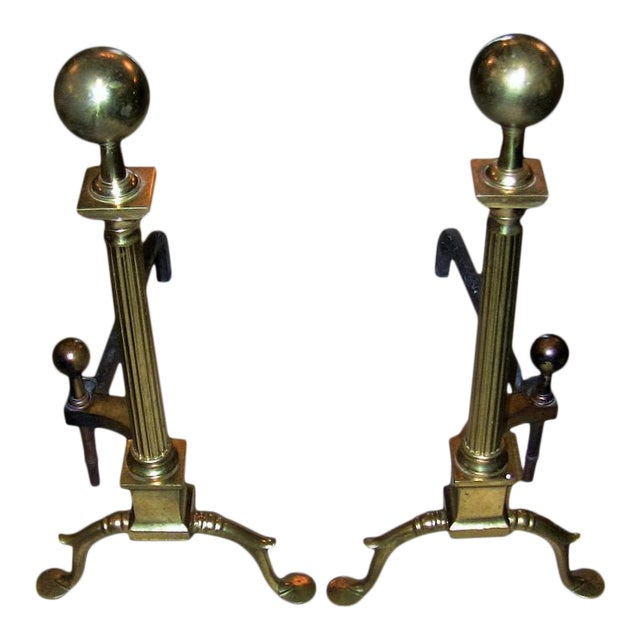 19c Philadelphia Brass Andirons With Roman Columns and Ball Finials- a Pair For Sale